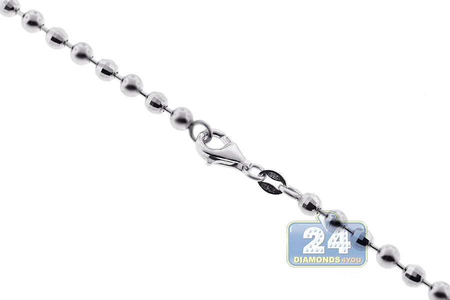 925 Silver Diamond Cut Ball Mens Chain 4 mm 22 24 26 28 30