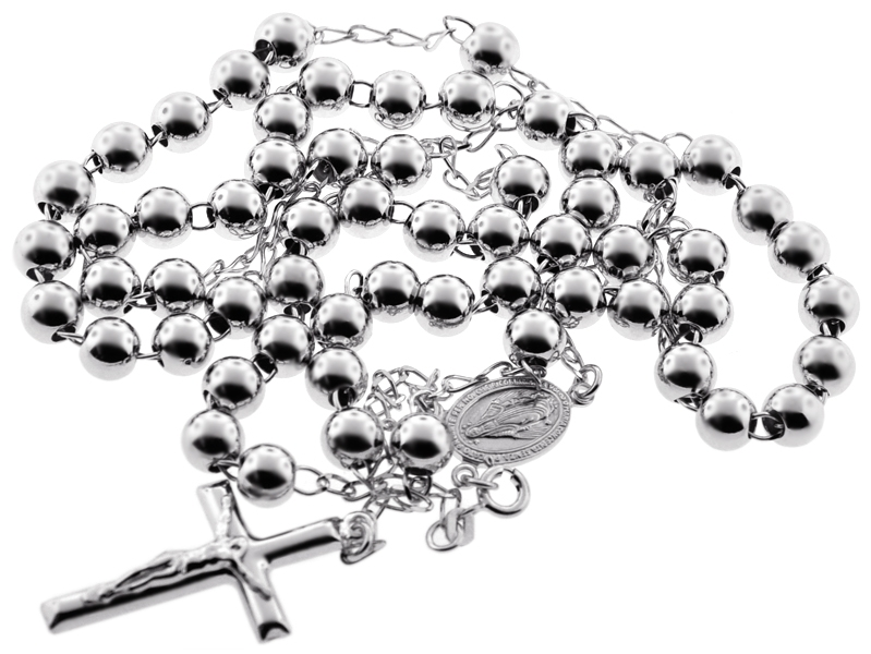 Sterling Silver Rosary Mens Cross Necklace 7 mm 24 28 inch