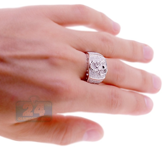 Mens Diamond Scorpion Pinky Ring 14K White Gold 1.04 ct