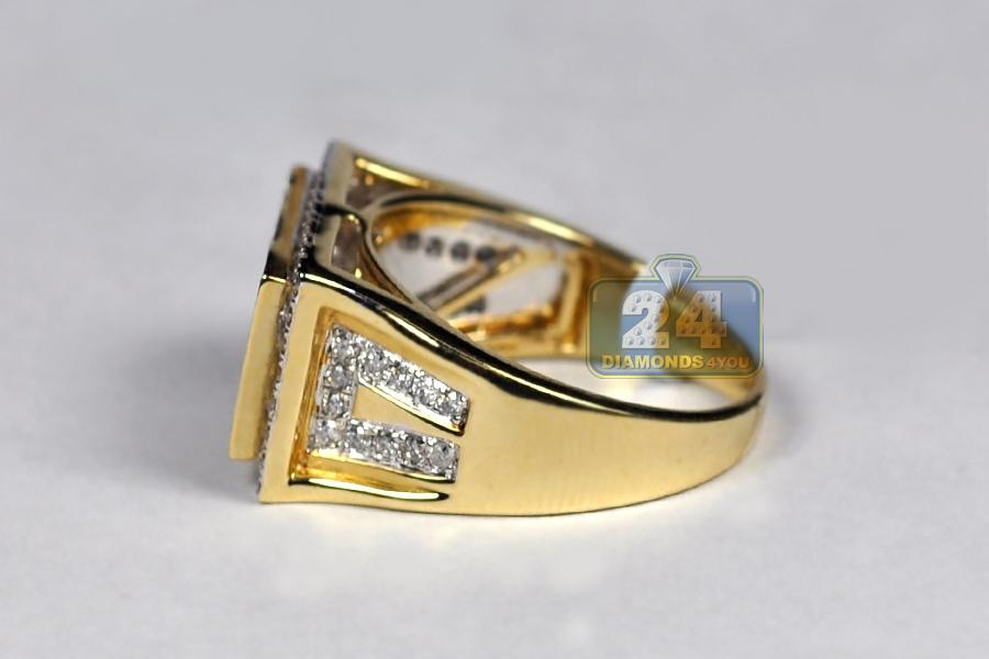 Mens Diamond Rectangle Signet Pinky Ring 14K Yellow Gold 1