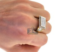 Mens Diamond Rectangle Signet Pinky Ring 14K Yellow Gold 1