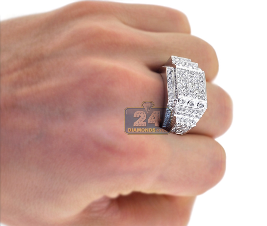 Mens Diamond Rectangle Pinky Ring 14K White Gold 2.51 ct
