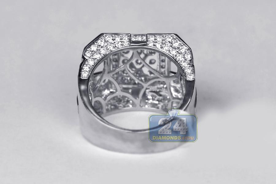 Mens Diamond Large Square Ring 14K White Gold 4.07 Carats
