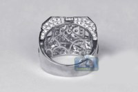 Mens Diamond Large Square Ring 14K White Gold 4.07 Carats