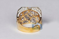 Mens Diamond Large Square Signet Ring 14K Yellow Gold 4.12 ct