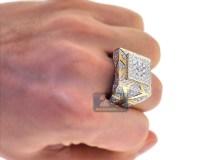 Mens Diamond Large Square Pinky Ring 14K Yellow Gold 3.69 ct
