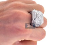 Mens Iced Out Diamond Large Square Ring 14K White Gold 4.18 ct