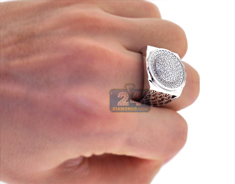 Mens Diamond Pave Oval Pinky Ring 18K Two Tone Gold 120 ct