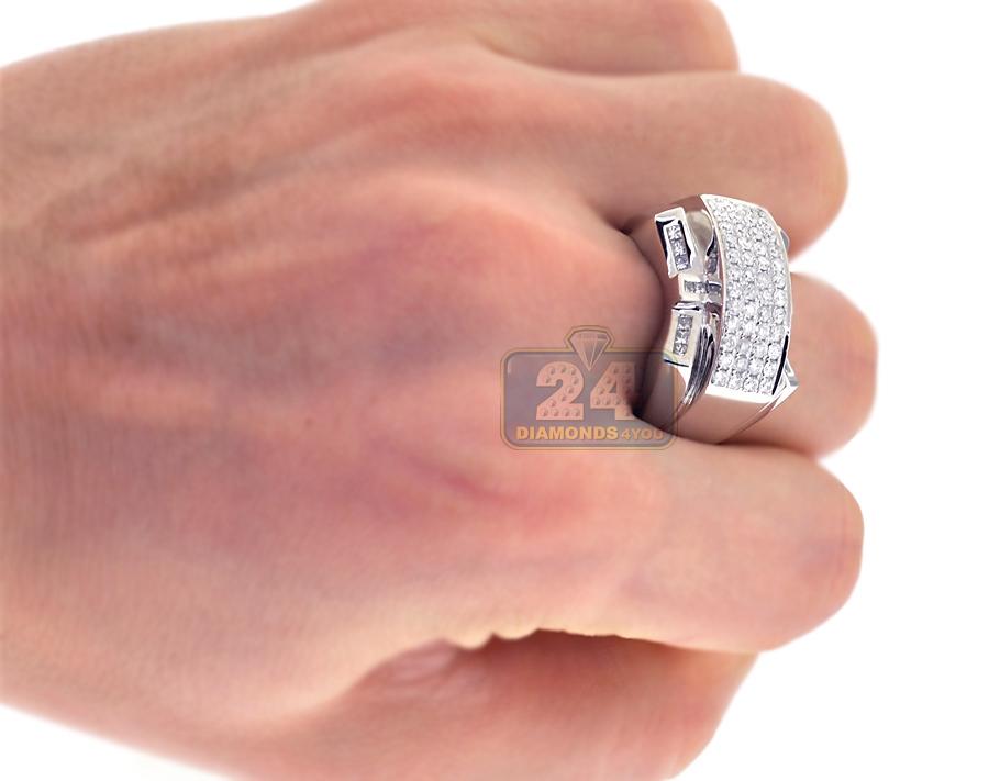 14K White Gold 1.15 ct Diamond Mens Pinky Ring