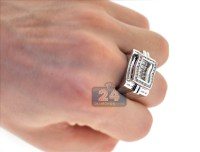 Mens Princess Cut Diamond Pinky Ring 14K White Gold 1.77 ct