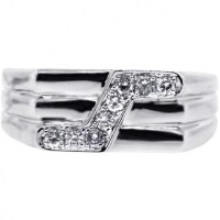 Mens Diamond Pinky Ring 14K White Gold 0.29 ct