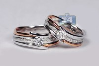 Diamond His Her Wedding Bands Set 18K Two Tone Gold 0.78 ct