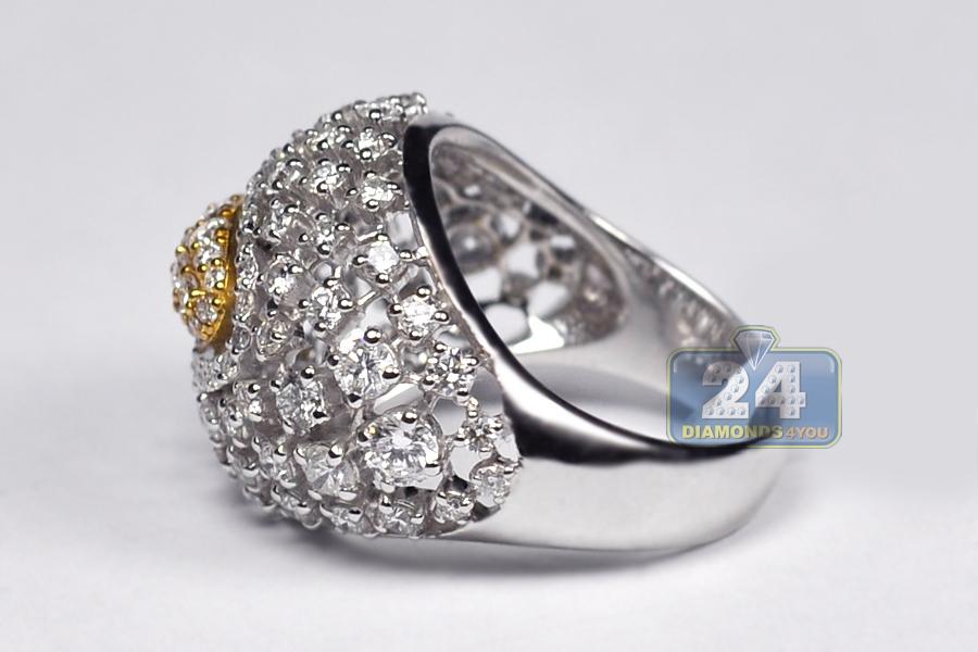 Womens Diamond Lattice Dome Ring 18k Two Tone Gold 2 48 Ct