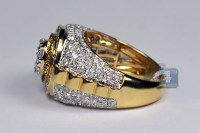 Mens Diamond Cluster Pinky Ring 14K Yellow Gold 3.22 ct
