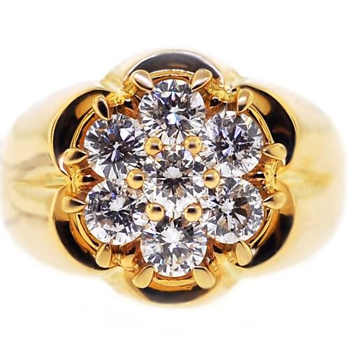 Mens Diamond Cluster Ring 14K Yellow Gold 1.80 ct