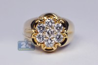 Mens Diamond Cluster Ring 14K Yellow Gold 1.80 ct