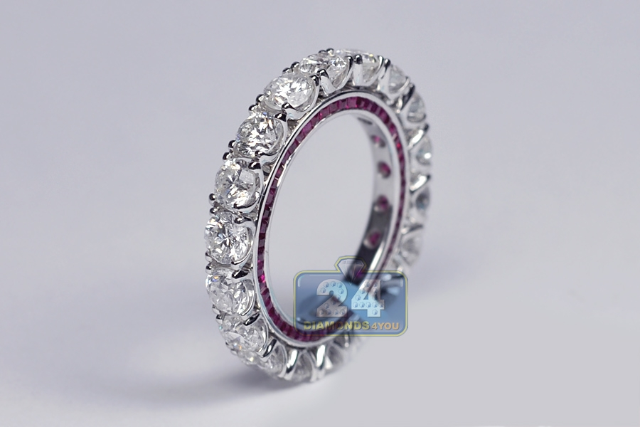 Womens Diamond Ruby Eternity Ring 18K White Gold 695 Ct