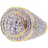 Mens Diamond Cluster Round Pinky Ring 14K Yellow Gold 4.38 ct