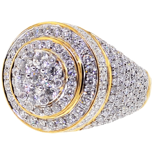 Mens Diamond Cluster Round Pinky Ring 10K Yellow Gold 4.73 ct