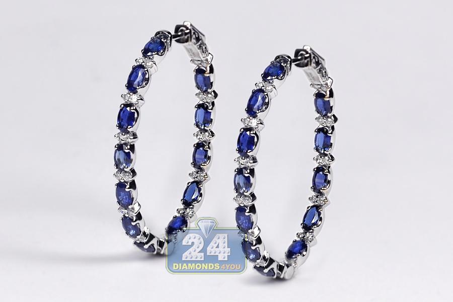 Womens Blue Sapphire Diamond Oval Hoop Earrings 18K Gold 6