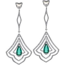 Womens Diamond Gemstone Dangle Long Earrings
