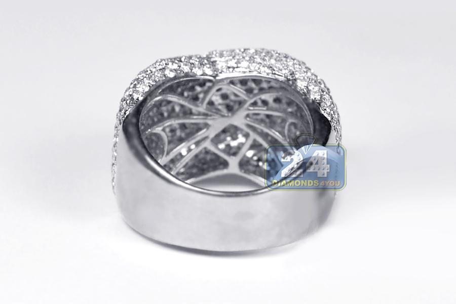 Womens Diamond Criss Cross Dome Ring 14K White Gold 4.00 ct