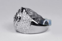 Mens Diamond Round Signet Pinky Ring 14K White Gold 3.88 ct