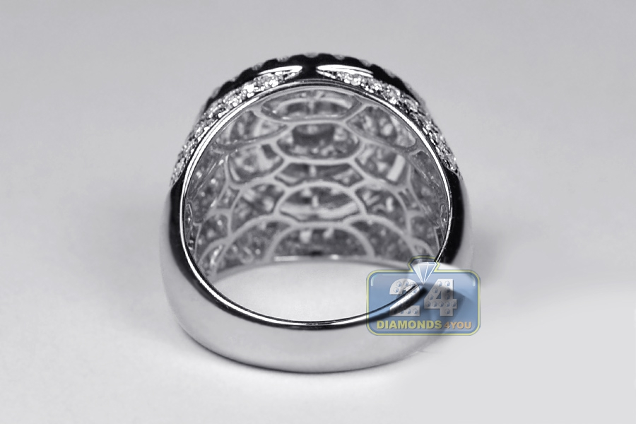 Mens Diamond Round Signet Pinky Ring 14K White Gold 3.88 ct