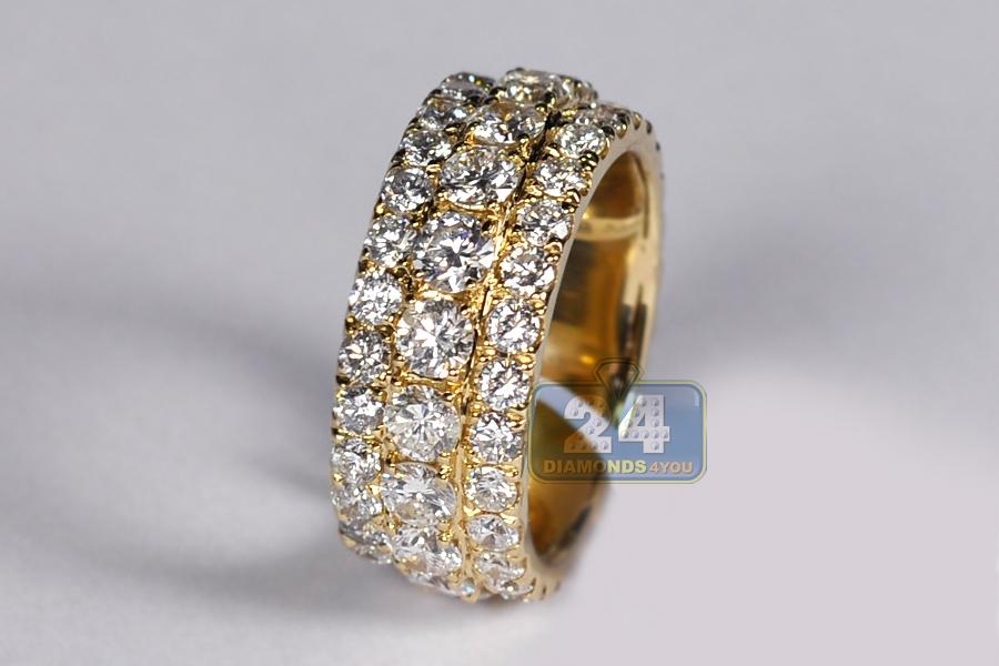 Mens Diamond Eternity Band Ring 14K Yellow Gold 752 Ct 10 Mm