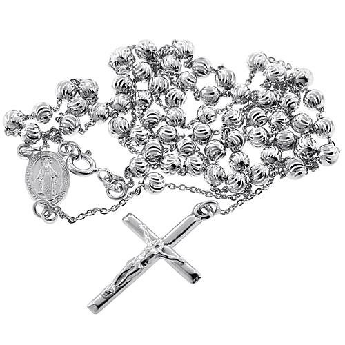 Sterling Silver Moon Cut Bead Mens Rosary Necklace 4 mm 24