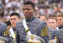Photo of West Point Graduate gets emotional during graduation