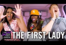 Photo of First Lady Michelle Obama on Carpool Karaoke