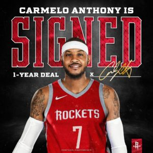 Rockets Officially Sign Carmelo Anthony