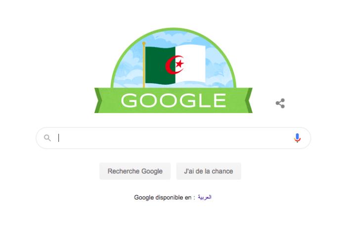 Le doodle du moteur de recherche américain, Google, s'est mis aux couleurs algériennes ce 5 juillet pour marquer le 58e anniversaire de l'indépendance de l'Algérie.