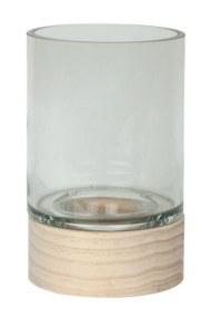 Κηροπήγιο Γυάλινο με Ξύλινη Βάση Gallery S&P - Salt & Pepper - BAM41916