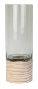 Κηροπήγιο Γυάλινο με Ξύλινη Βάση Gallery S&P - Salt & Pepper - BAM41917