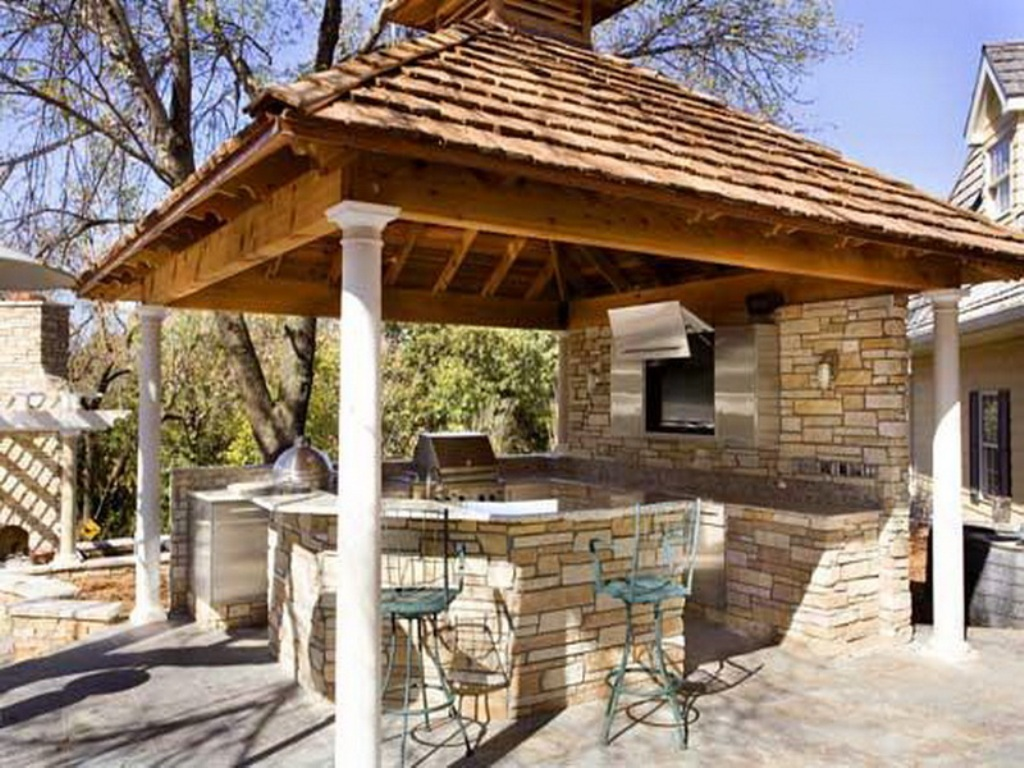 outside kitchen hanging cabinets top 15 outdoor designs and their costs rustic with gazebo