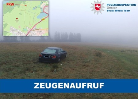 PKW in der Feldmark - Foto: © Polizeiinspektion Goslar