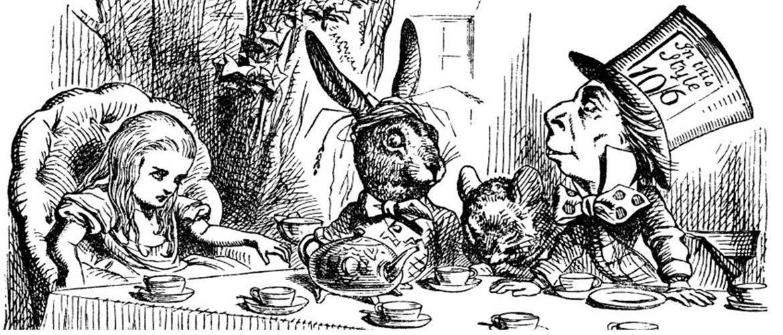 Alicia, la Liebre de Marzo y el Sombrerero Loco toman el té en el País de las Maravillas (Tenniel, 1864)