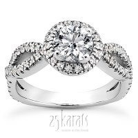 Bow Shank Halo Style Diamond Engagement Ring (0.45 ct. t.w ...