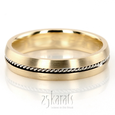 14K Gold Braided Two Color Handcrafted Wedding Band HM034