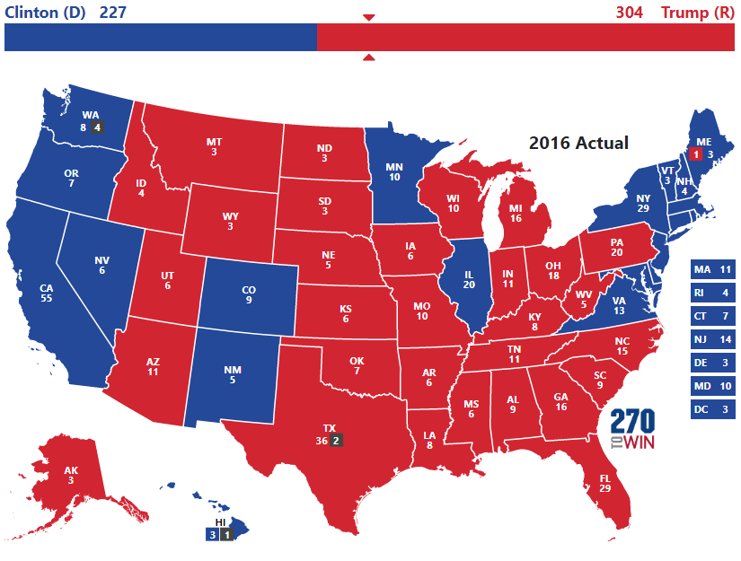 Image result for map 2016 presidential election red blue