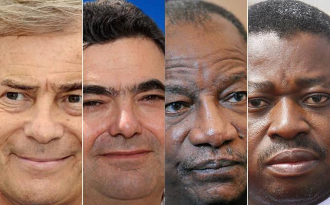 De gauche à droite : Vincent Bolloré du groupe français Bolloré; Françis Perez du groupe Pefaco; Alpha Condé, président de la Guinée et Faure Gnassingbé, président du Togo | Infog : 27avril.com