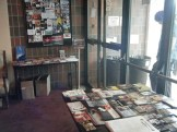Flyer tables in the Fringe Central lobby