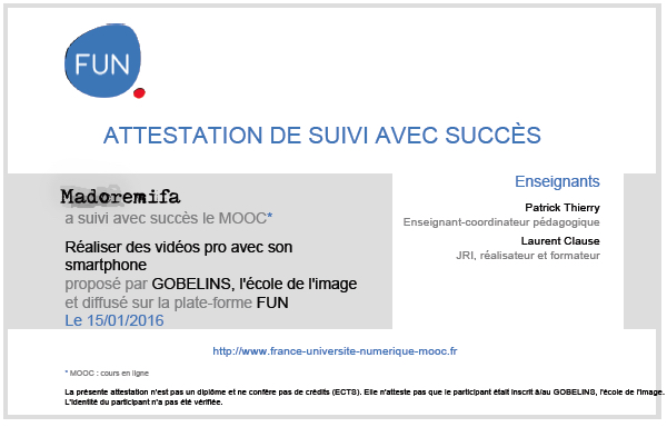 Attestation MOOC Gobelins