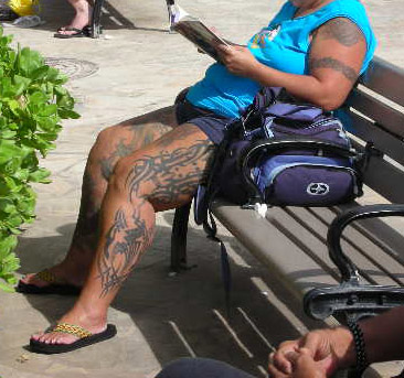 Also seen along the beach were plenty of tattoos. I wasn't packing my camera