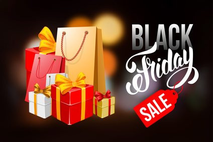 Black Friday Sale advertising inscription. Black Friday banner with packing bags and boxes. Vector stock template for your business design.