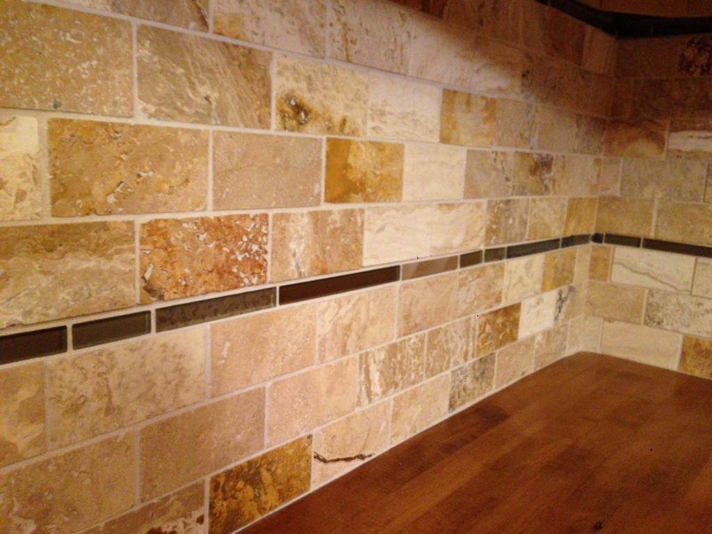 Travertine tile backsplash  2 Cabinet Girls