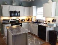 Pure White cabinets with Dovetail gray island - 2 Cabinet ...