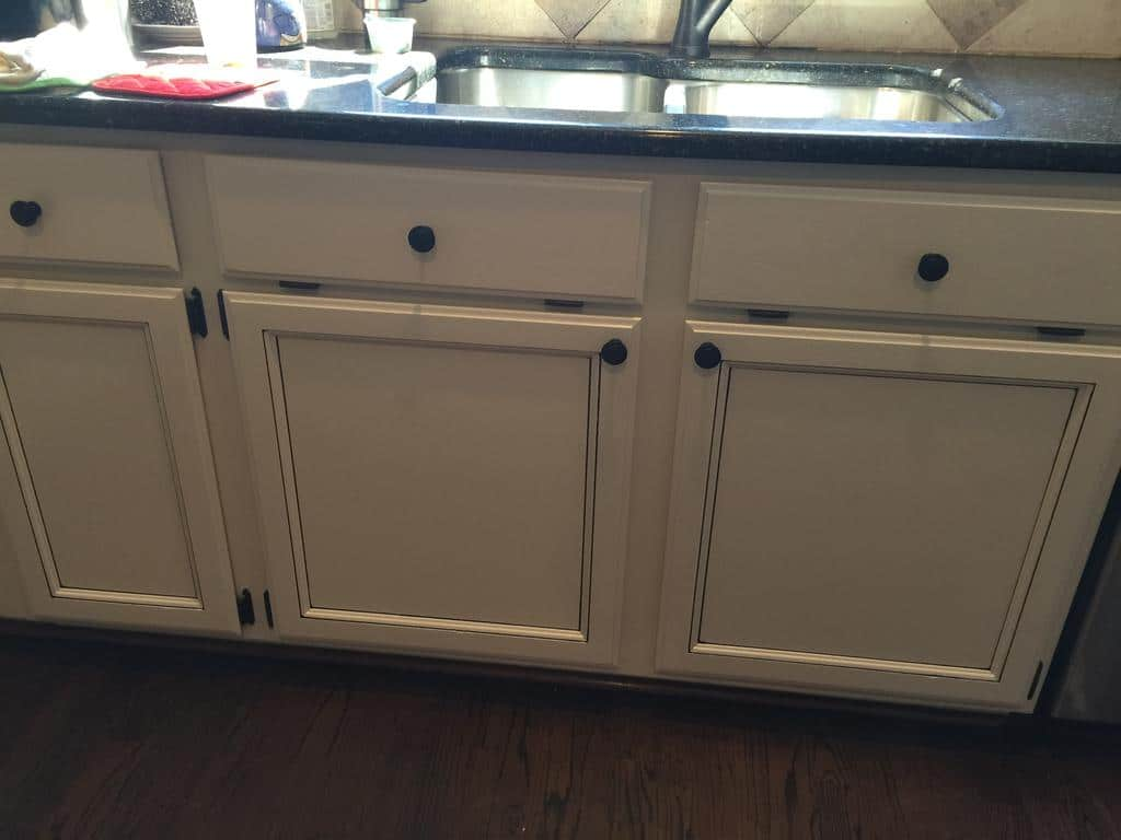 gray cabinets kitchen small remodels light pewter with black glaze pin stripes - 2 ...